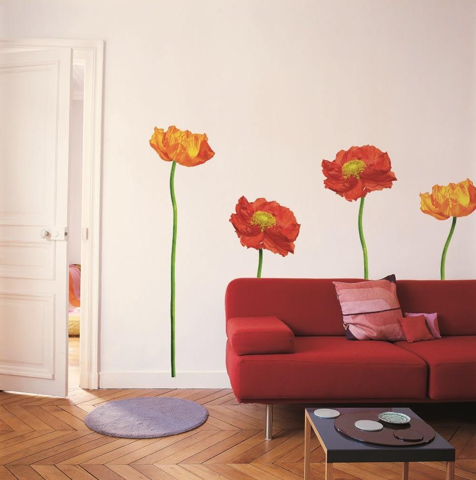 Sticker de perete floral 4 maci rosii, un sticker foarte apreciat de clientii Deco-perete.ro