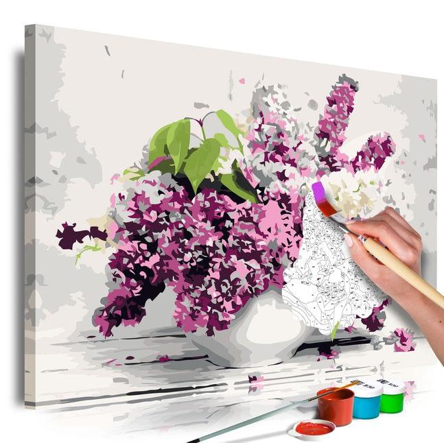 Set de pictura pentru adulti cu natura statica vas cu liliac