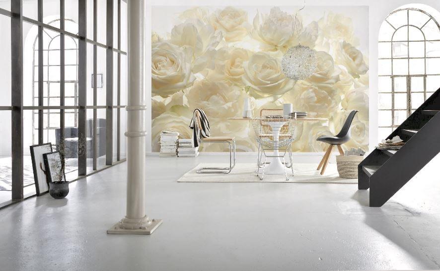 Fototapet Trandafiri albi delicati , un fototapet floral pe suport vlies, foarte apreciat de clientii Deco-perete.ro
