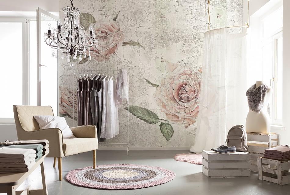 Fototapet cu trandafiri pentru decoratiuni shabby chic pe deco-perete.ro