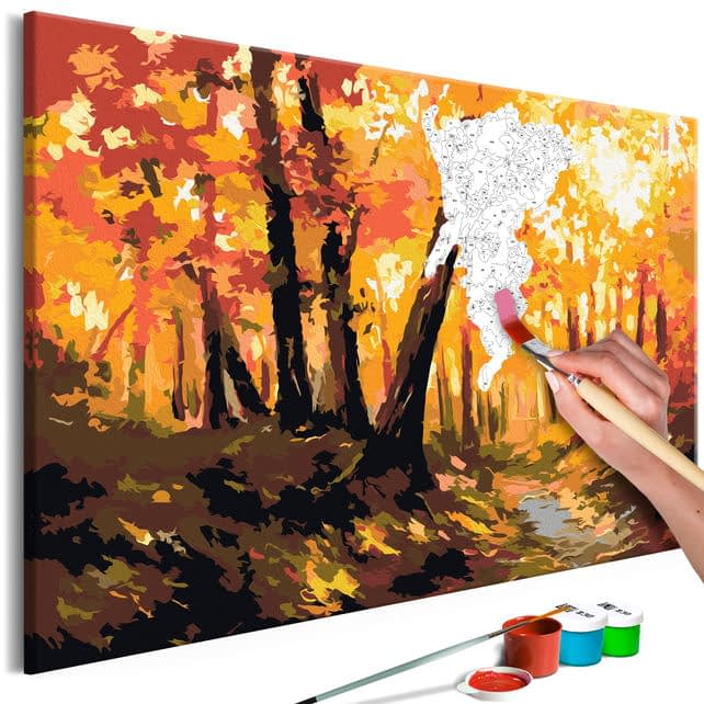 Pictura pe numere dupa model peisaj de toamna